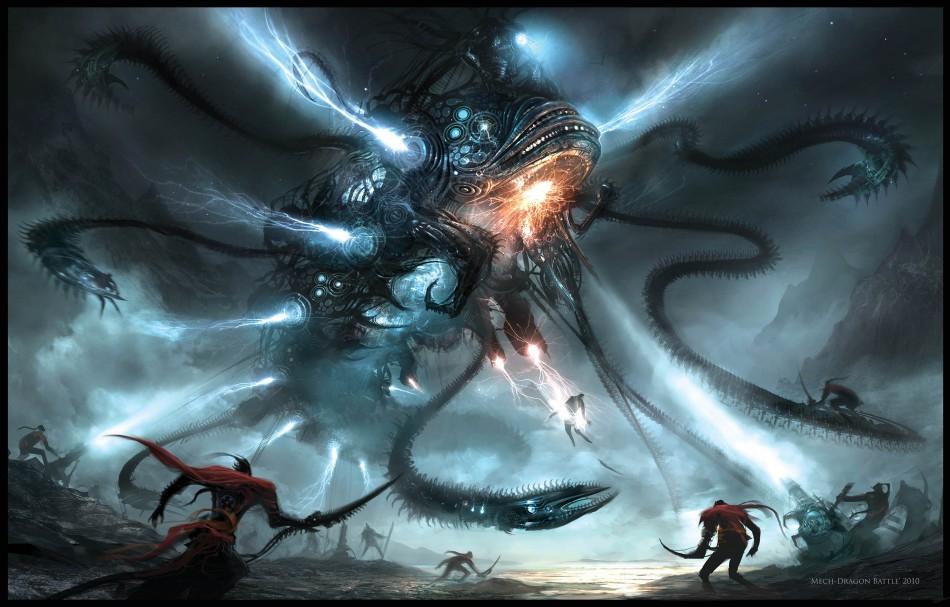 Mech Dragon Battle By Alex Ruiz Illustration From