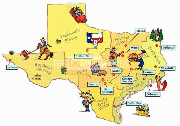 {Texas travel map by Phil Scheuer Illustration Graphic Design – Texas Travel Map